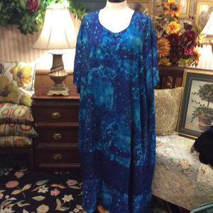 Roaman's Ocean Blue Watercolor MuuMuu Dress 7X